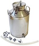 100lb SS milk bottling can with valve accessories